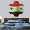 Syrian Flag On A Cracked Grunge Wall Hexagonal Canvas Wall Art 7 Hexa / Small / Gallery Wrap Tiaracle