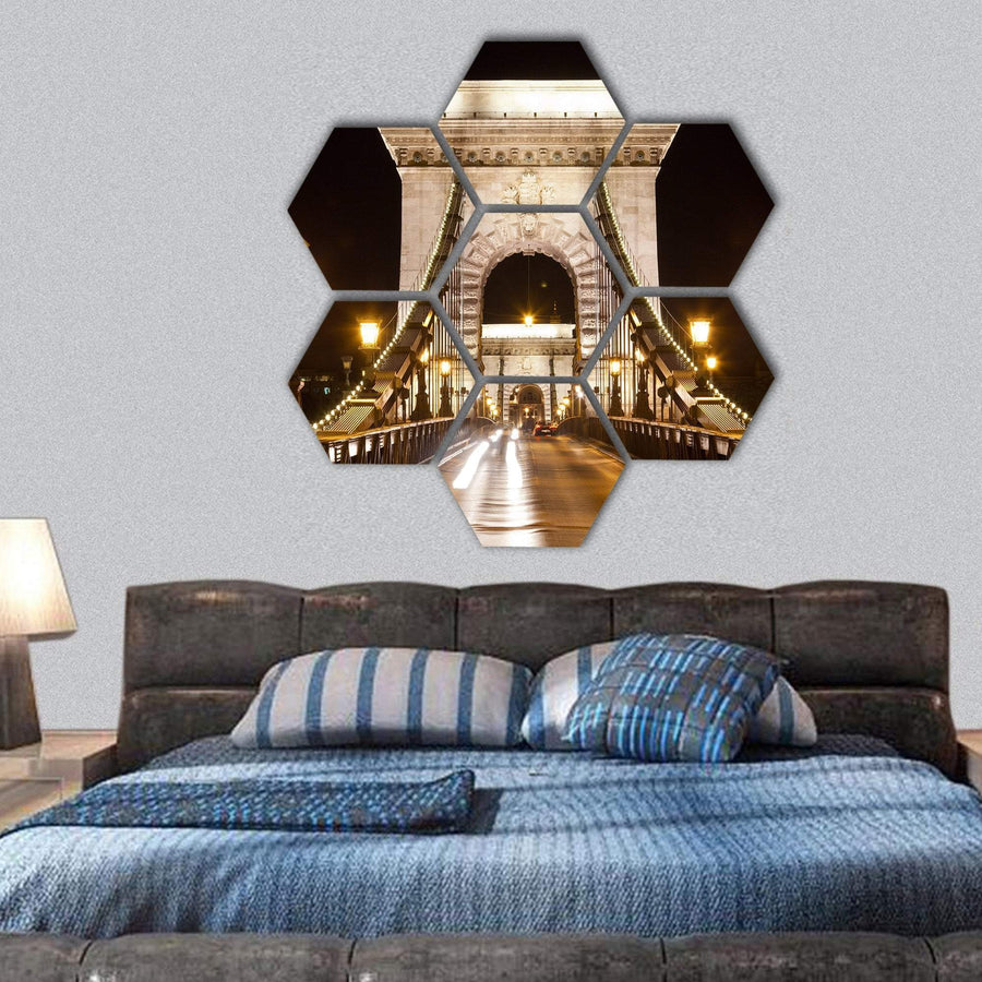 Szechenyi Chain Bridge In Budapest Hexagonal Canvas Wall Art 1 Hexa / Small / Gallery Wrap Tiaracle