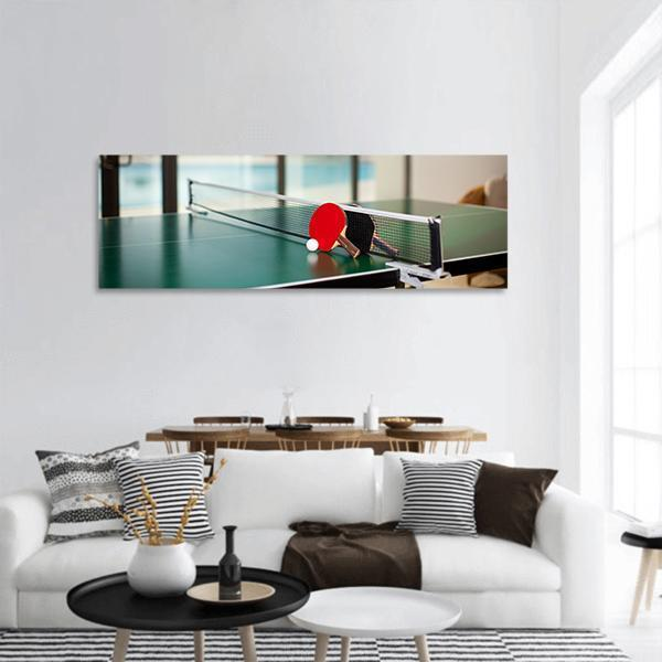 Table Tennis Equipment Panoramic Canvas Wall Art 3 Piece / Small Tiaracle