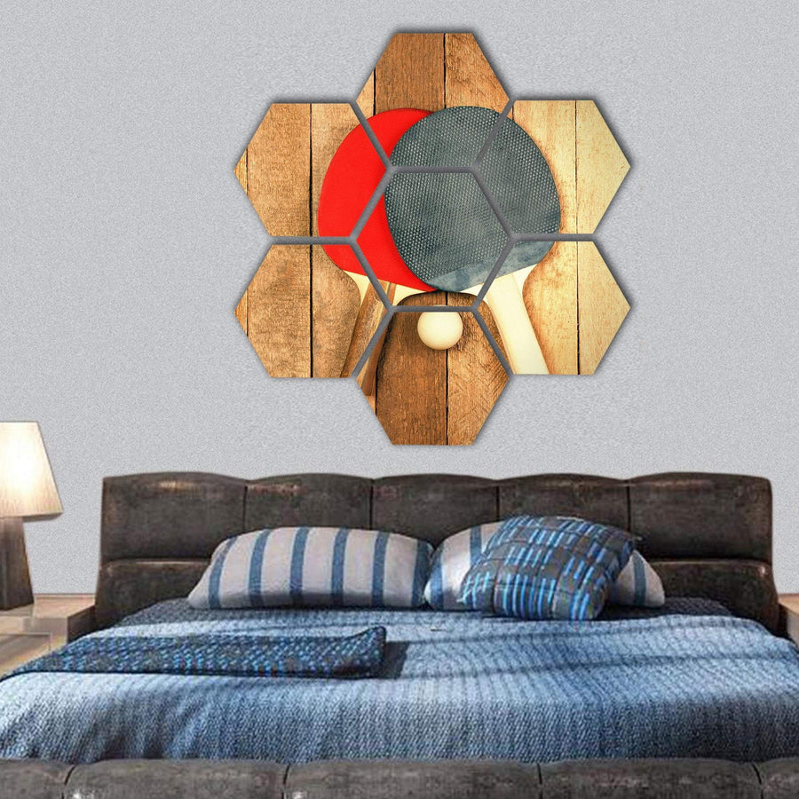Table Tennis Paddles And Ball On Wooden Texture Hexagonal Canvas Wall Art 1 Hexa / Small / Gallery Wrap Tiaracle