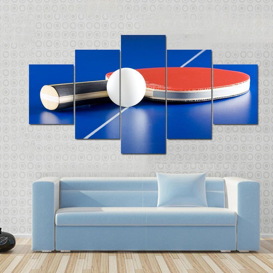 Table Tennis Racket Ball On A Table Canvas Panel Painting Tiaracle