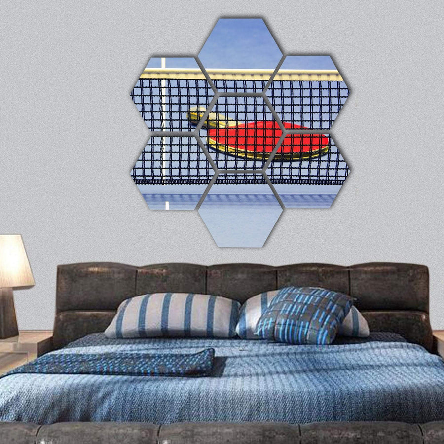 Table Tennis Racket On Table With Net Hexagonal Canvas Wall Art 1 Hexa / Small / Gallery Wrap Tiaracle