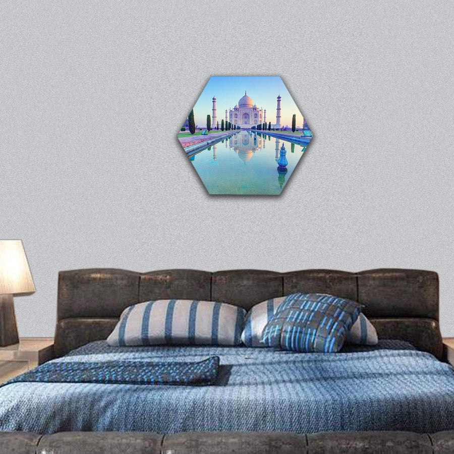 Taj Mahal At The Sunrise Hexagonal Canvas Wall Art 7 Hexa / Small / Gallery Wrap Tiaracle