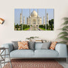 Taj Mahal Faces Green Lawn Multi Panel Canvas Wall Art 5 Horizontal / Small / Gallery Wrap Tiaracle