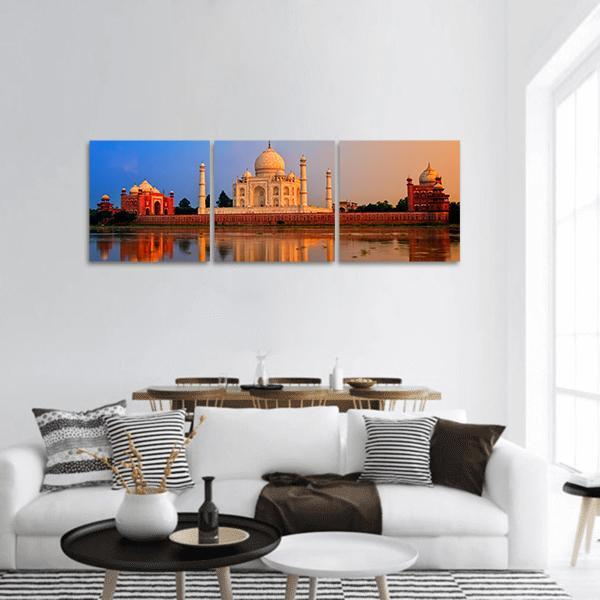 Taj Mahal In Agra On Sunset Panoramic Canvas Wall Art Tiaracle