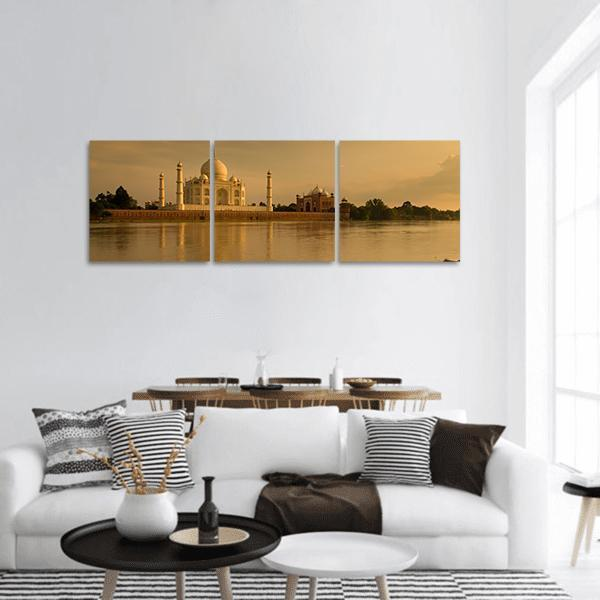 Taj Mahal In Sunset Panoramic Canvas Wall Art Tiaracle