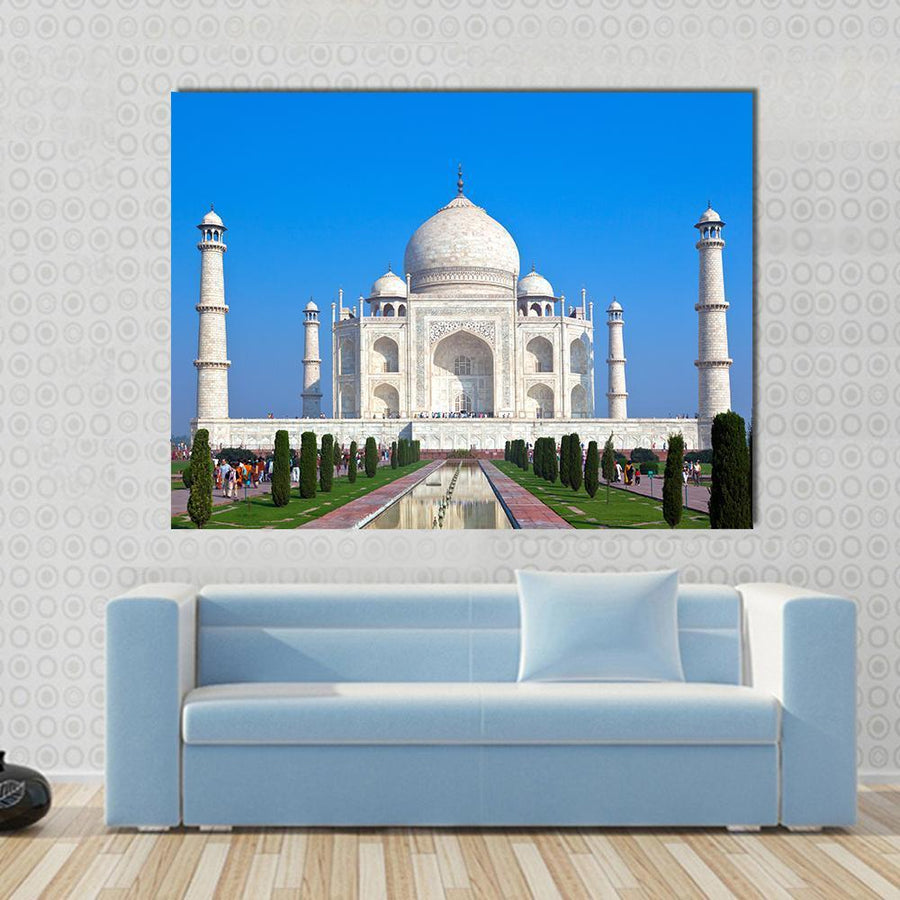 Taj Mahal Multi Panel Canvas Wall Art 5 Horizontal / Small / Gallery Wrap Tiaracle