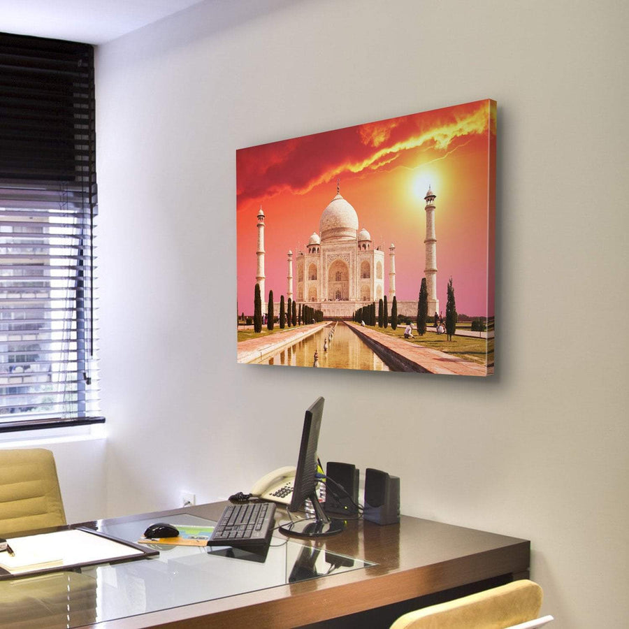 Taj Mahal Palace On Sunrise, Agra, India Canvas Panel Painting Tiaracle