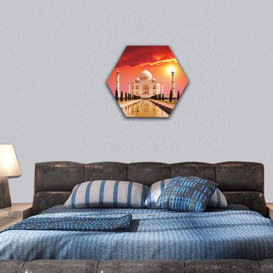 Taj Mahal Palace On Sunrise In Agra, India Hexagonal Canvas Wall Art 7 Hexa / Small / Gallery Wrap Tiaracle