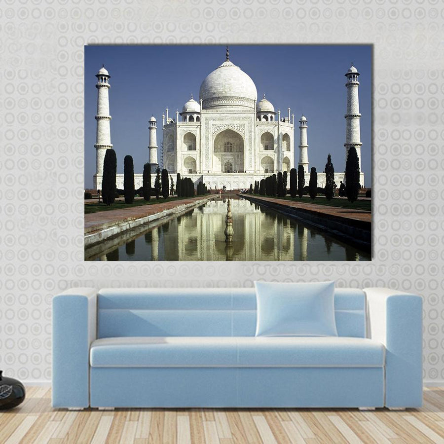 Taj Mahal View In The Morning, Agra, India Multi Panel Canvas Wall Art 5 Horizontal / Small / Gallery Wrap Tiaracle