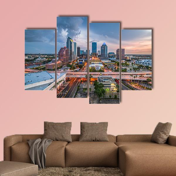 Tampa downtown skyline on the bay Multi Panel Canvas Wall Art 5 Pieces(A) / Medium / Canvas Tiaracle