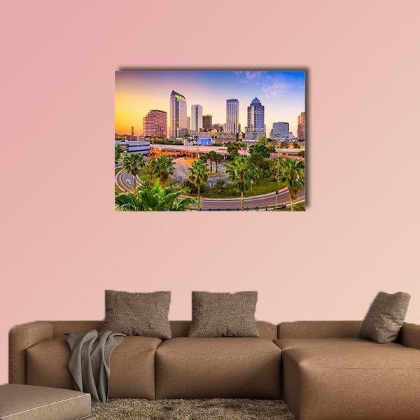Tampa In Florida Downtown Skyline Multi Panel Canvas Wall Art 5 Pieces(B) / Medium / Canvas Tiaracle
