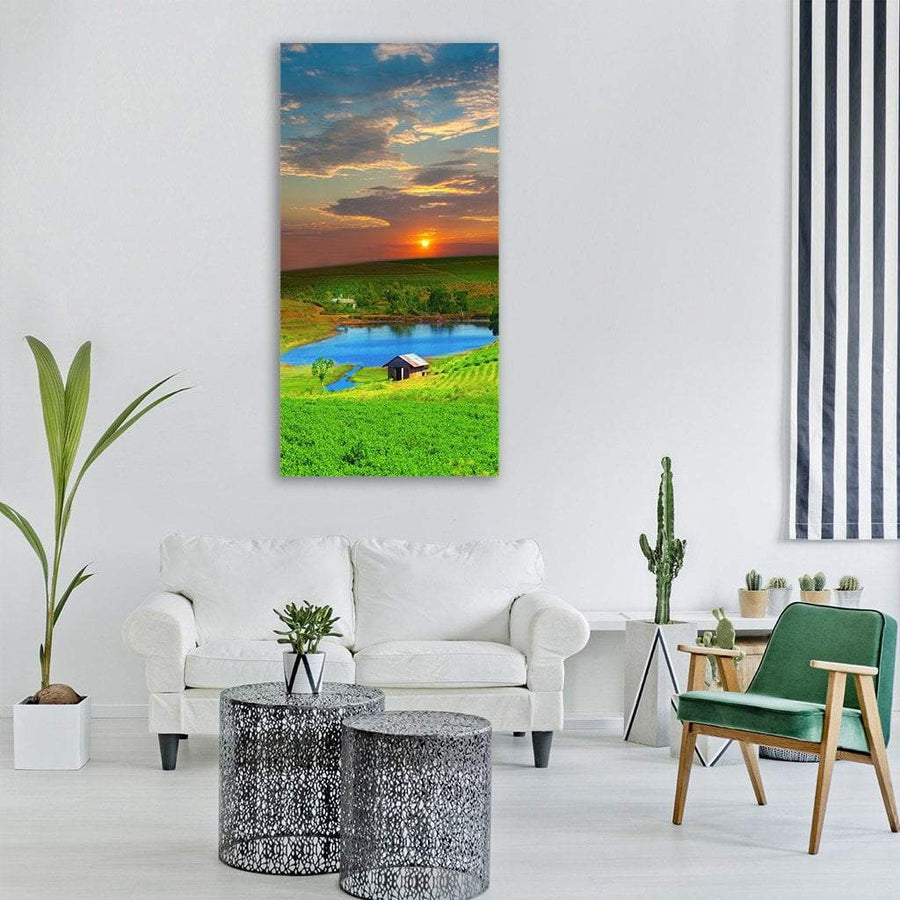 Tea Plantation In Vietnam Vertical Canvas Wall Art 3 Vertical / Small / Gallery Wrap Tiaracle