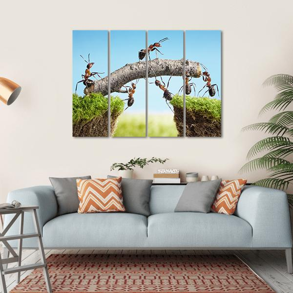 Team Of Ants Constructing Bridge Multi Panel Canvas Wall Art 1 Piece / Small / Gallery Wrap Tiaracle