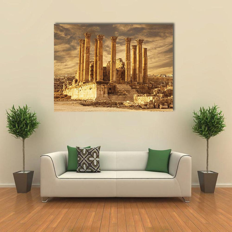 Temple Of Artemis At Sunset In Jordan Multi Panel Canvas Wall Art 4 Square / Small / Gallery Wrap Tiaracle