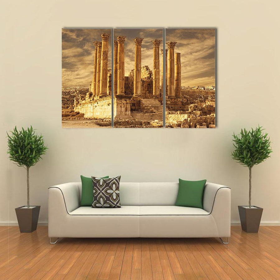 Temple Of Artemis At Sunset In Jordan Multi Panel Canvas Wall Art 1 Piece / Xsmall / Gallery Wrap Tiaracle