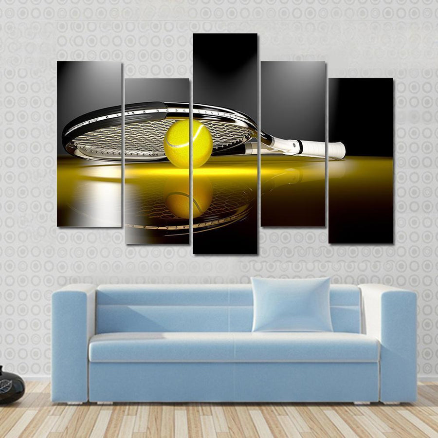 Tennis Racket With Tennis Ball Canvas Panel Painting Tiaracle
