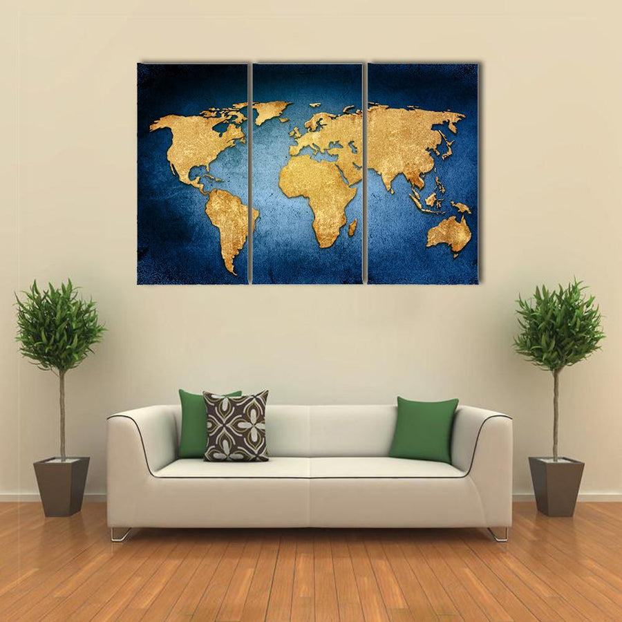 Beautiful Textured World Map Canvas Panel Painting Tiaracle