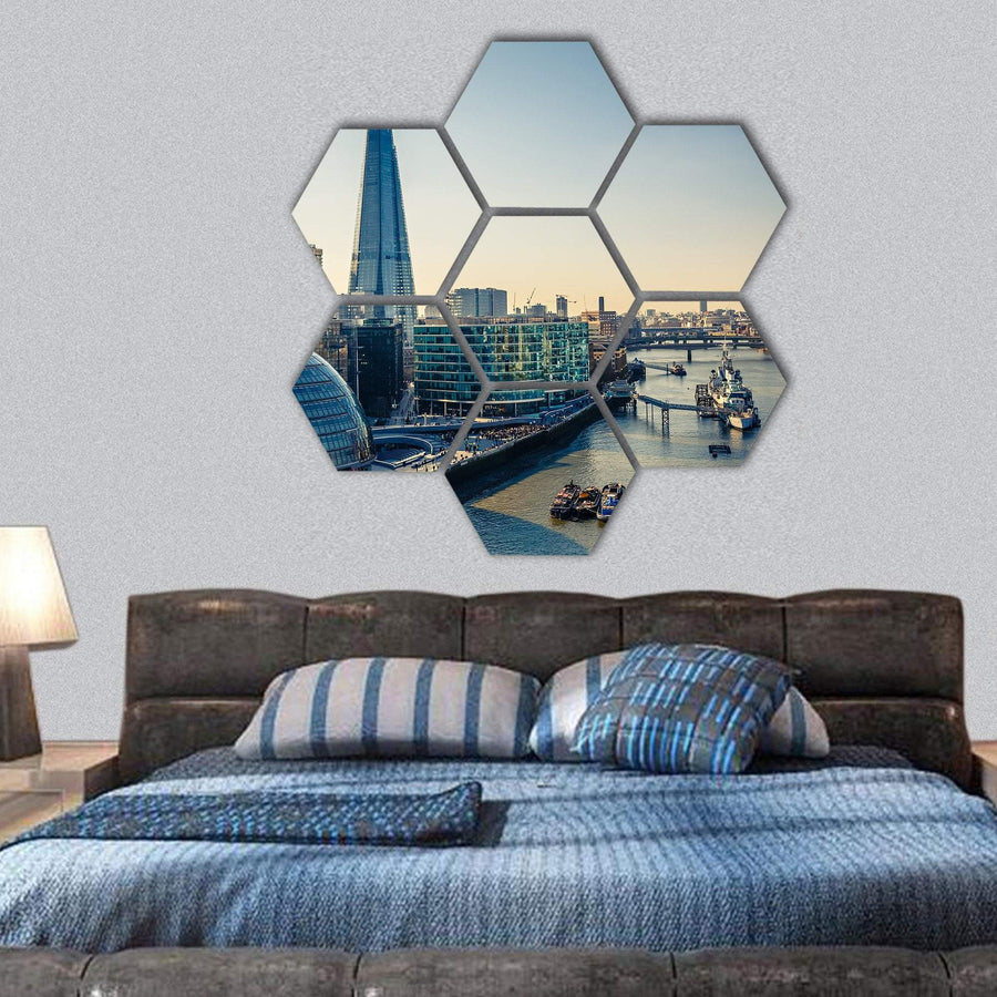 Thames And London City Hexagonal Canvas Wall Art 1 Hexa / Small / Gallery Wrap Tiaracle