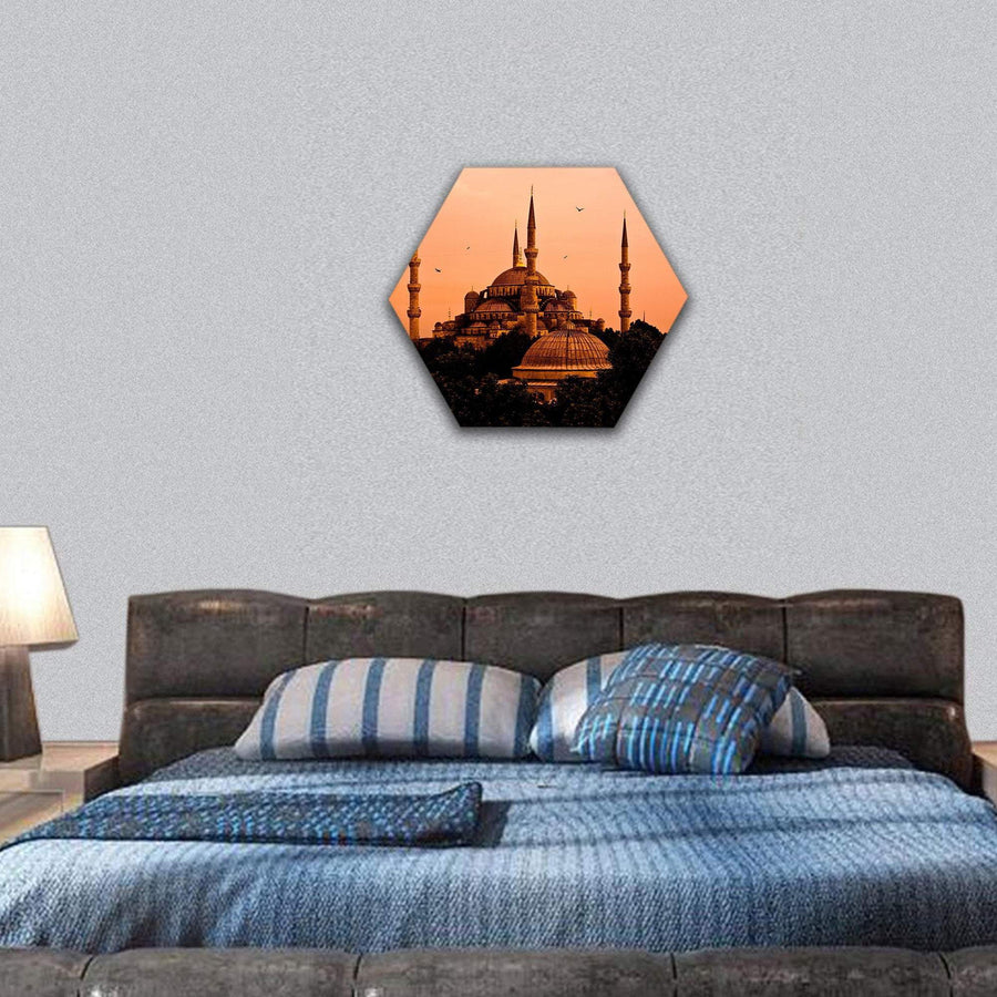The Blue Mosque In Istanbul At Sunset Hexagonal Canvas Wall Art 7 Hexa / Small / Gallery Wrap Tiaracle