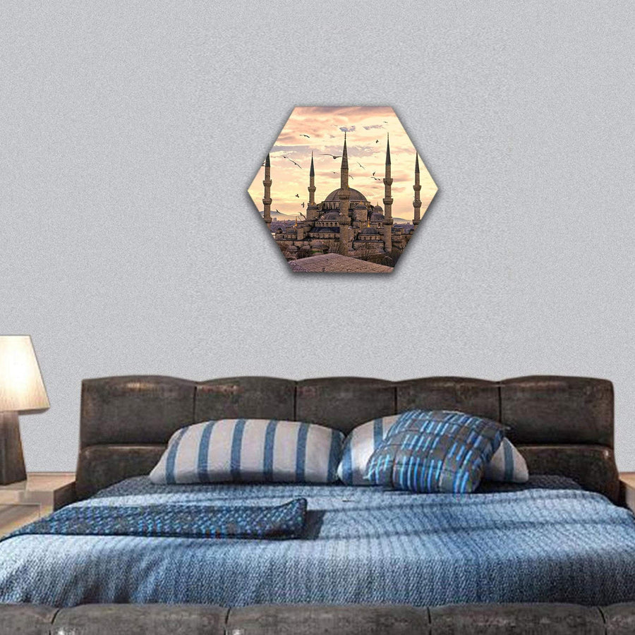 The Blue Mosque In Istanbul Hexagonal Canvas Wall Art 7 Hexa / Small / Gallery Wrap Tiaracle