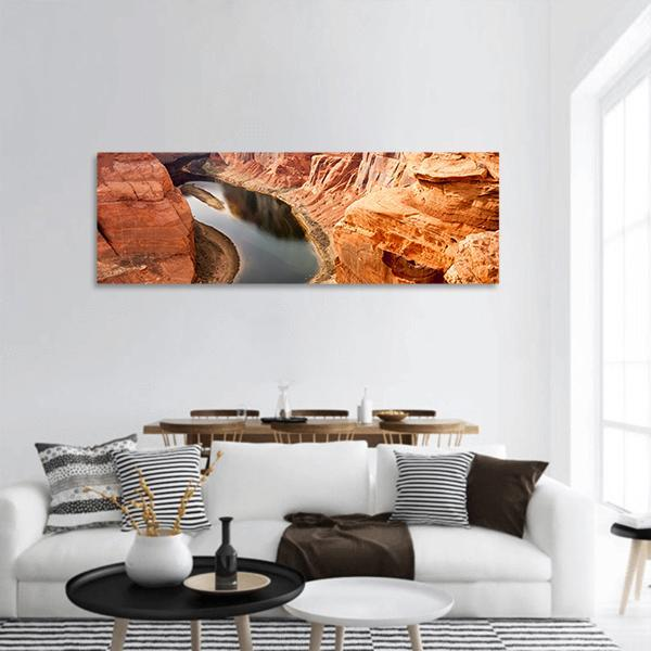 The Colorado River And Grand Canyon Panoramic Canvas Wall Art 3 Piece / Small Tiaracle