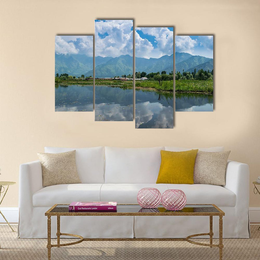 Dal Lake Water Reflecting Himalayan Mountains Multi Panel Canvas Wall Art 5 Pieces(A) / Medium / Canvas Tiaracle