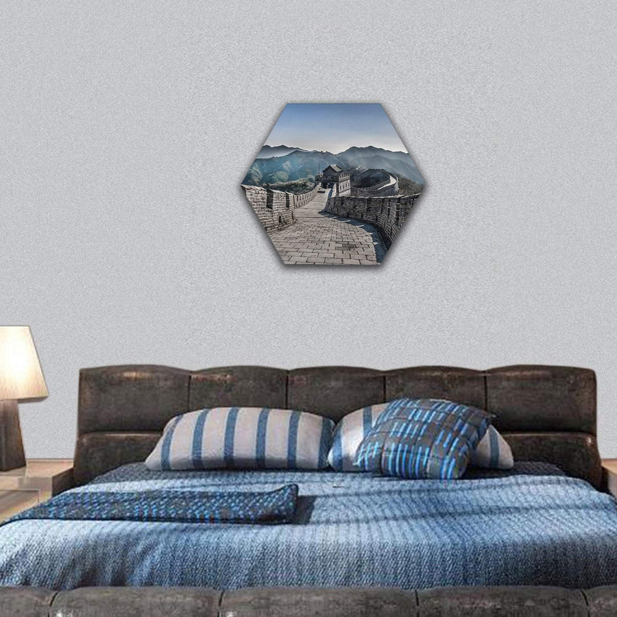The Great Wall At Mutianyu Section In China Hexagonal Canvas Wall Art 7 Hexa / Small / Gallery Wrap Tiaracle