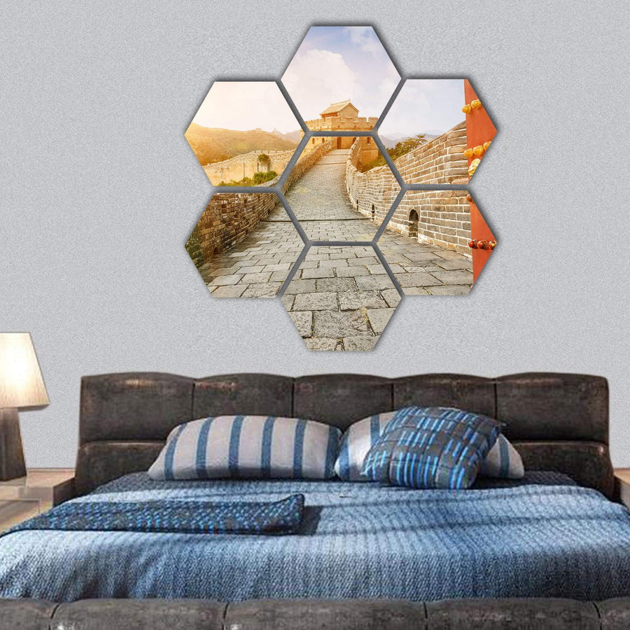 The Great Wall Of China In The Sunset Hexagonal Canvas Wall Art 1 Hexa / Small / Gallery Wrap Tiaracle