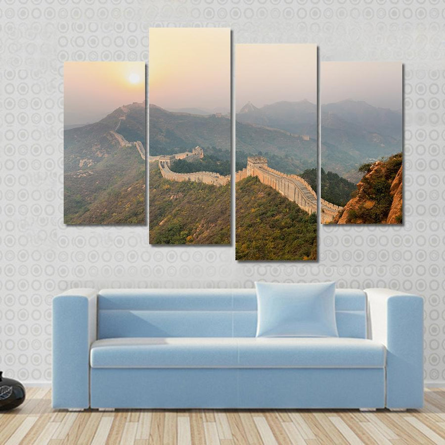The Great Wall Winding In Ridge At Sunrise, China Canvas Panel Painting Tiaracle