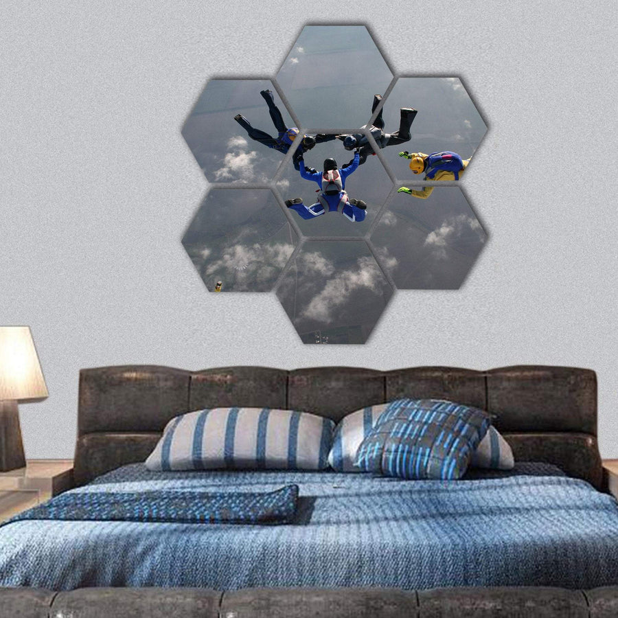 The Group Of Parachutists In Air Hexagonal Canvas Wall Art 1 Hexa / Small / Gallery Wrap Tiaracle