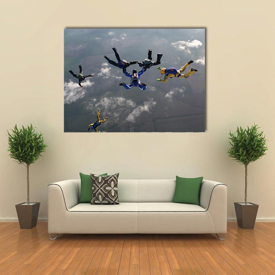 The Group Of Parachutists In Air Multi Panel Canvas Wall Art-4 Horizontal-Small-Gallery Wrap-Tiaracle