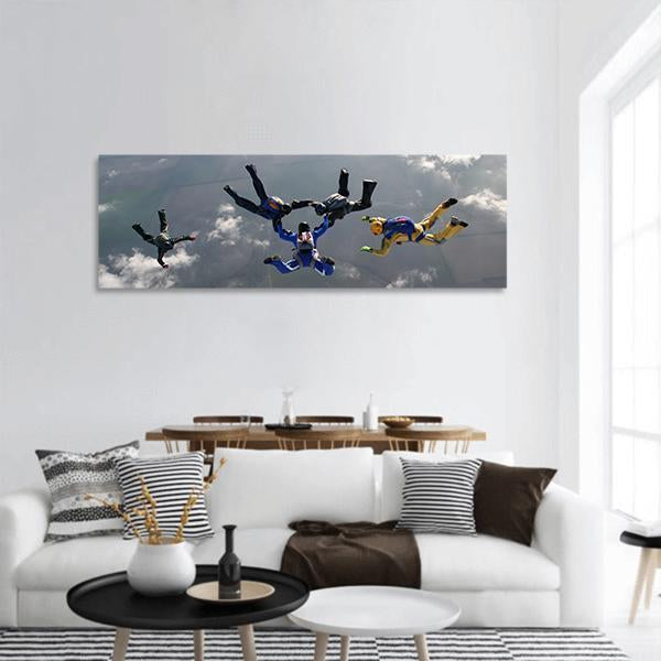 The Group Of Parachutists In Air Panoramic Canvas Wall Art 3 Piece / Small Tiaracle