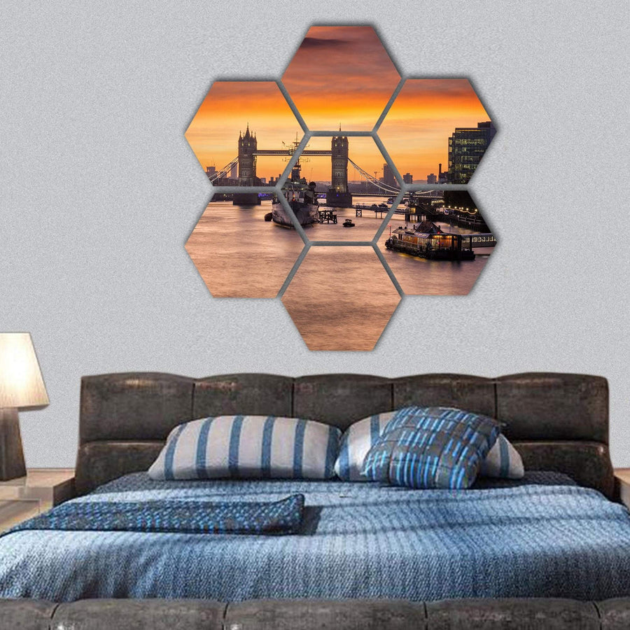 The Iconic Tower Bridge In London Hexagonal Canvas Wall Art 1 Hexa / Small / Gallery Wrap Tiaracle