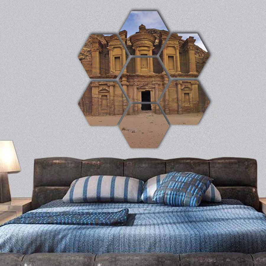 The Monastery Ad-Deir in Petra Hexagonal Canvas Wall Art 1 Hexa / Small / Gallery Wrap Tiaracle