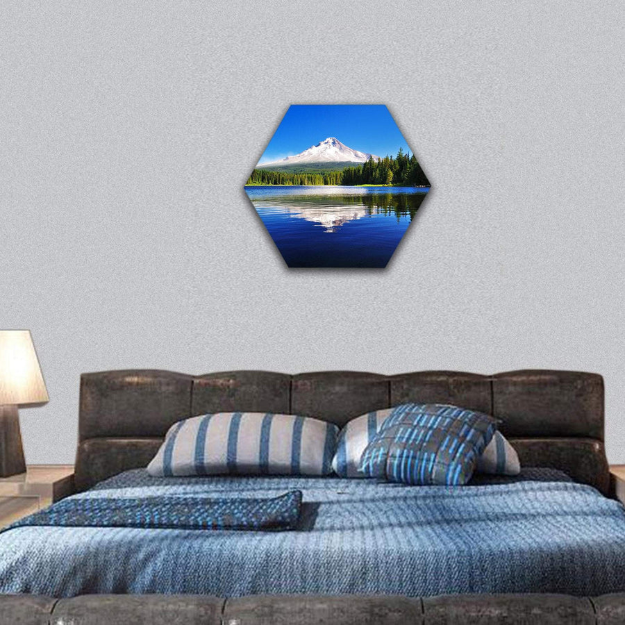 The Mount Hood Reflection In Trillium Lake Hexagonal Canvas Wall Art 7 Hexa / Small / Gallery Wrap Tiaracle