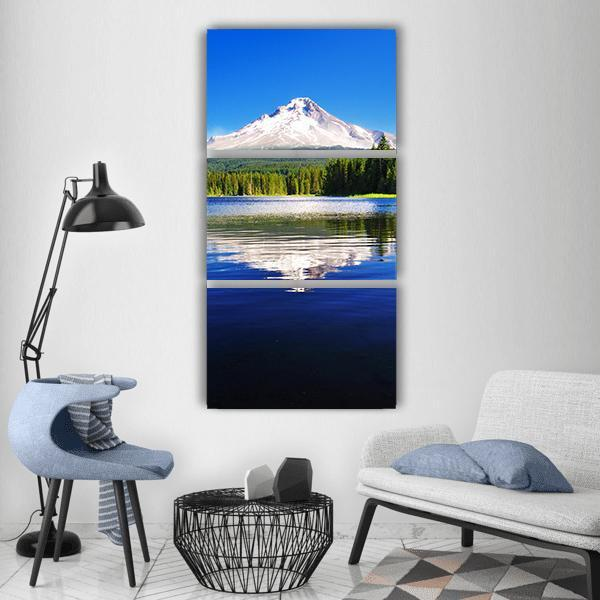 The Mount Hood Reflection In Trillium Lake Vertical Canvas Wall Art 1 Vertical / Small / Gallery Wrap Tiaracle