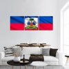 The National Flag Of Haiti Panoramic Canvas Wall Art 3 Piece / Small Tiaracle