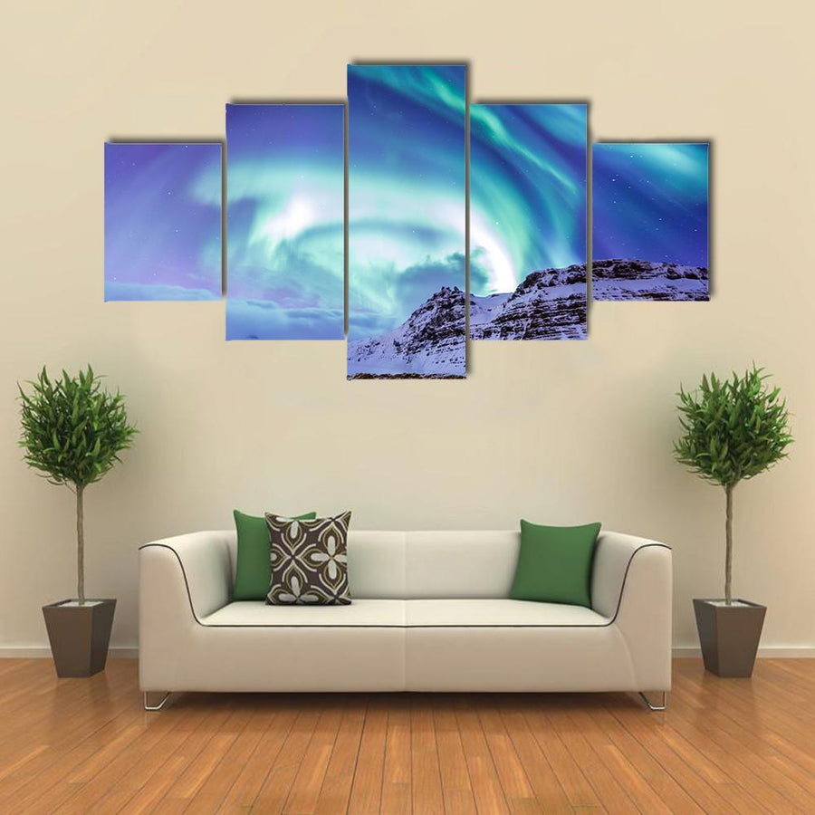 The Northern Light Aurora Borealis At Kirkjufell Multi Panel Canvas Wall Art 3 Pieces / Medium / Canvas Tiaracle