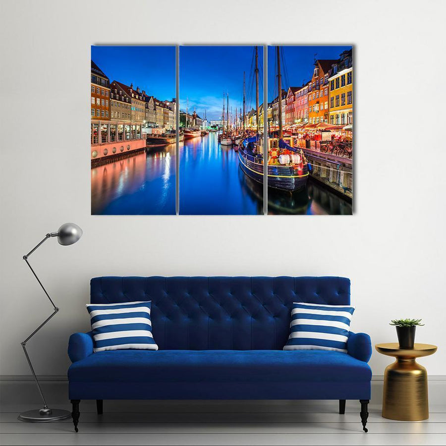 Copenhagen On The Nyhavn Canal Canvas Panel Painting Tiaracle