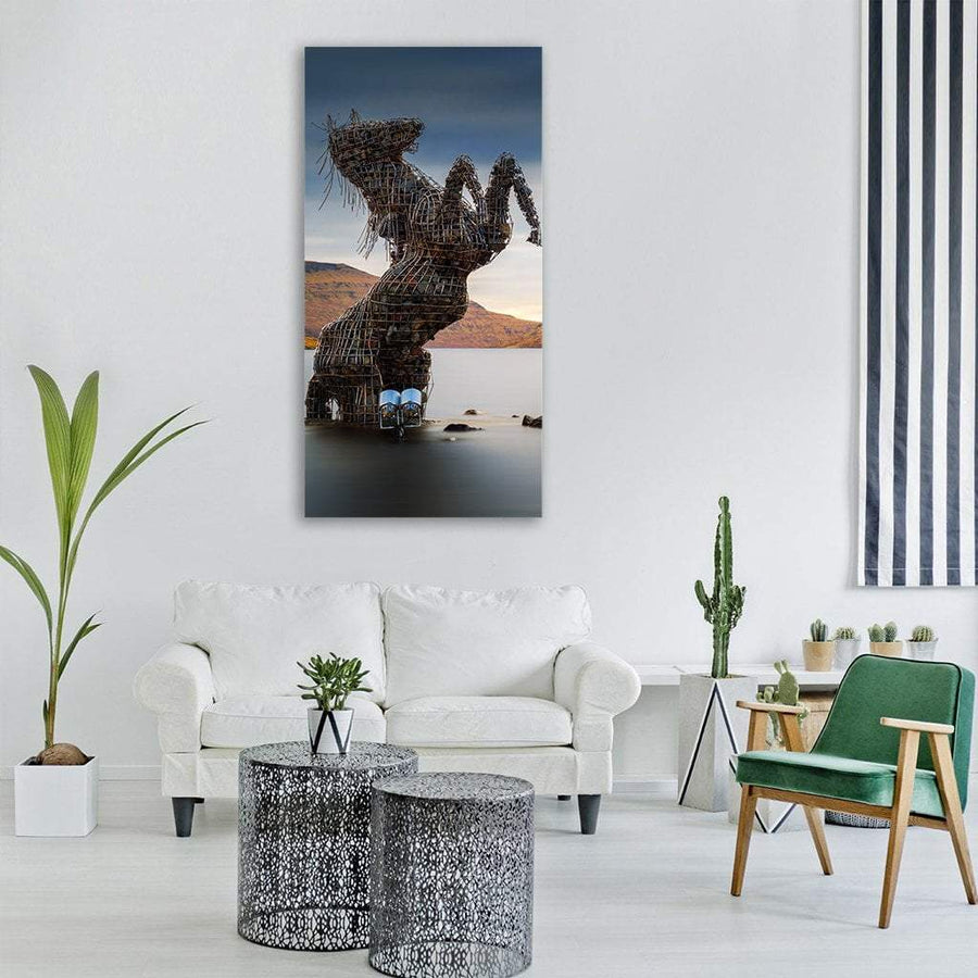 The Nykur Horse Sculpture On Sorvagsvatn Lake Vertical Canvas Wall Art 3 Vertical / Small / Gallery Wrap Tiaracle