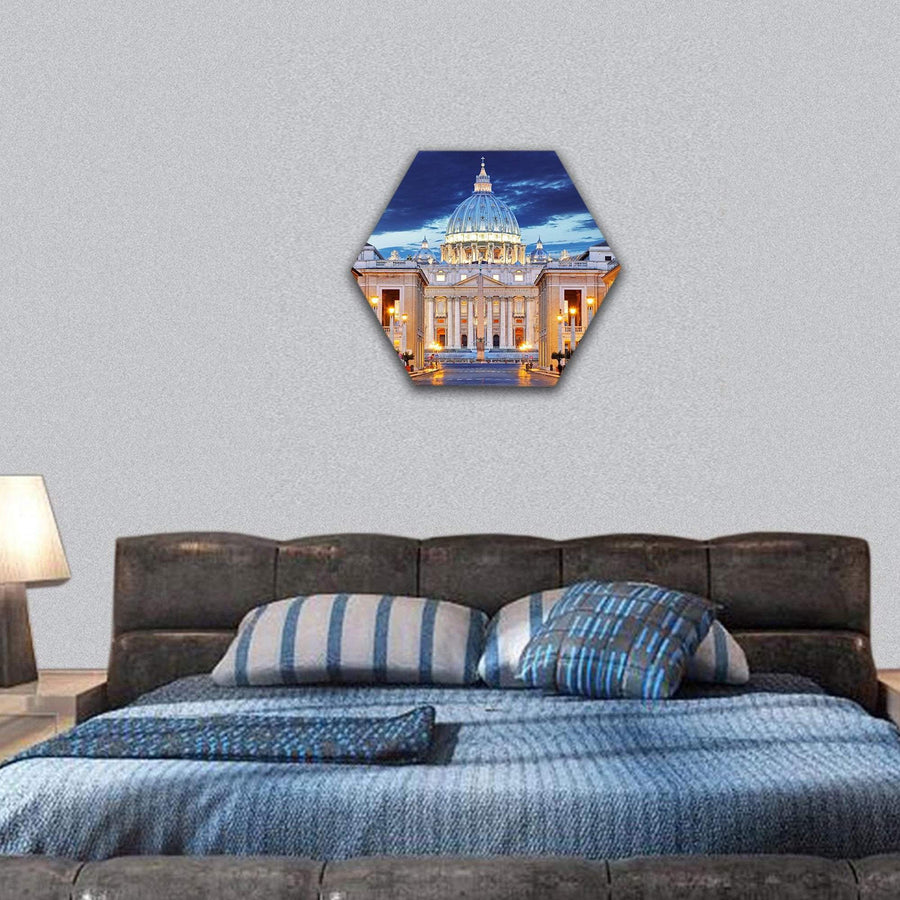 The Papal Basilica Of Saint Peter In The Vatican Hexagonal Canvas Wall Art Tiaracle