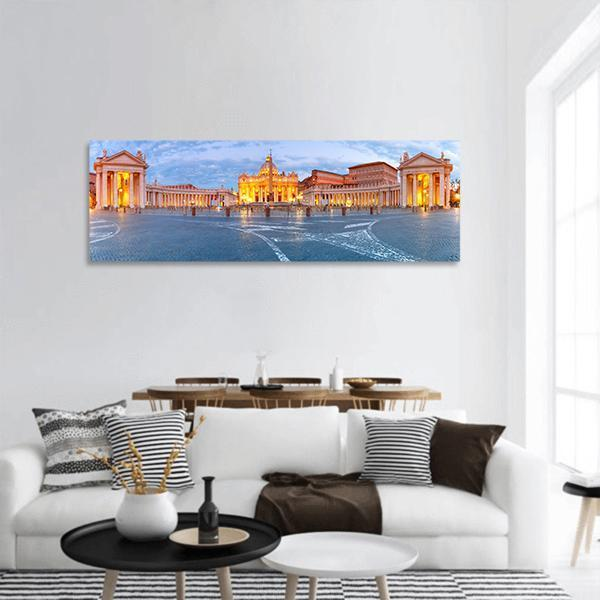The Papal Basilica of St Peter Panoramic Canvas Wall Art Tiaracle