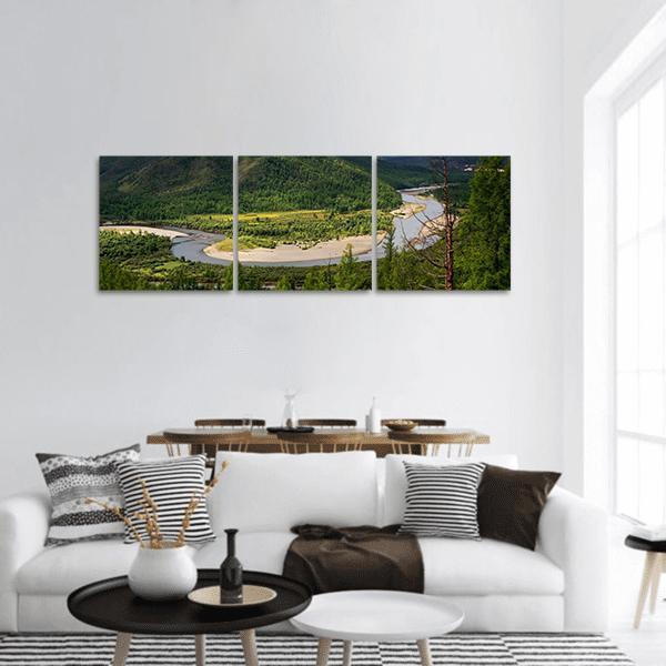 The River Uur In Northern Mongolia Panoramic Canvas Wall Art 1 Piece / Small Tiaracle