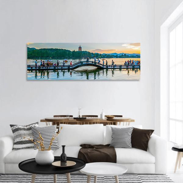 The Scenery Of Hangzhou West Lake Panoramic Canvas Wall Art Tiaracle