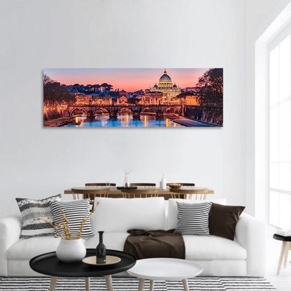 The Vatican City At Night In Rome Panoramic Canvas Wall Art 3 Piece / Small Tiaracle