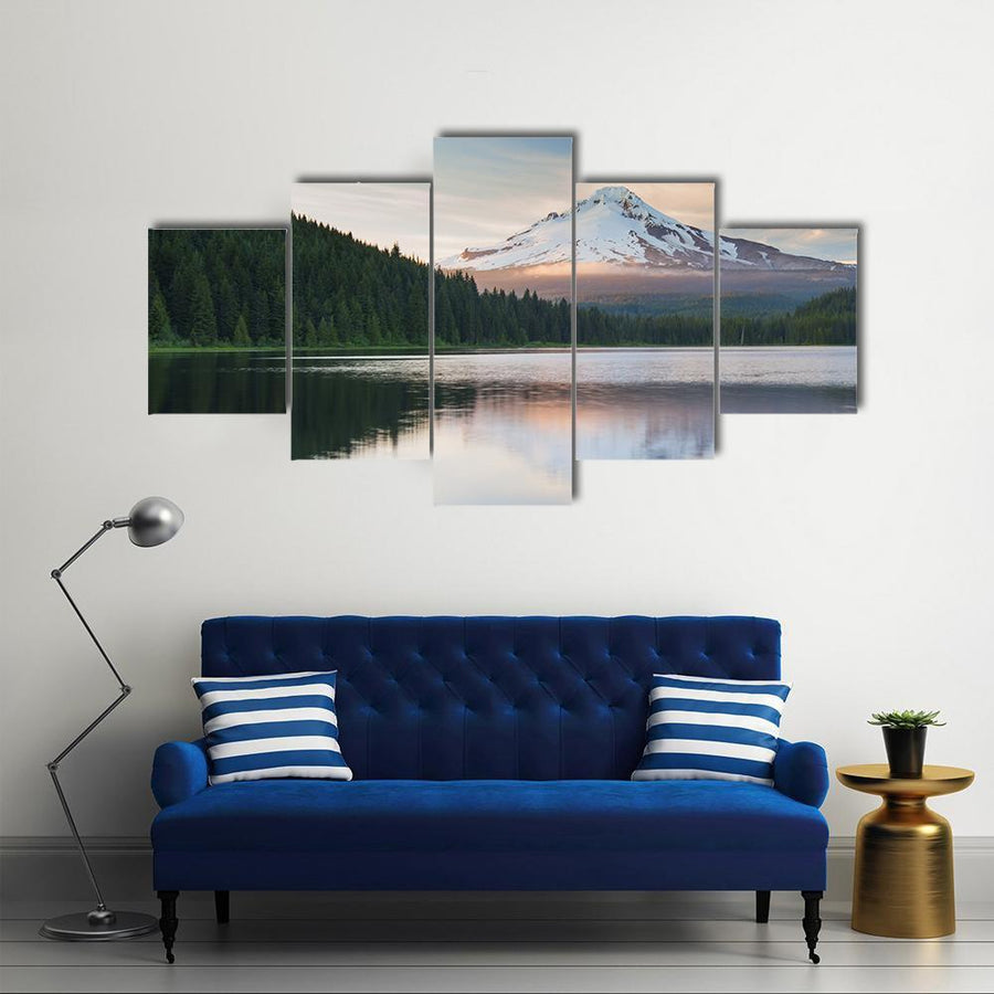 The Volcano Mountain Mt Hood Multi Panel Canvas Wall Art 3 Pieces / Medium / Canvas Tiaracle