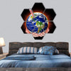 Thermometer With Earth In Hand Hexagonal Canvas Wall Art 7 Hexa / Small / Gallery Wrap Tiaracle