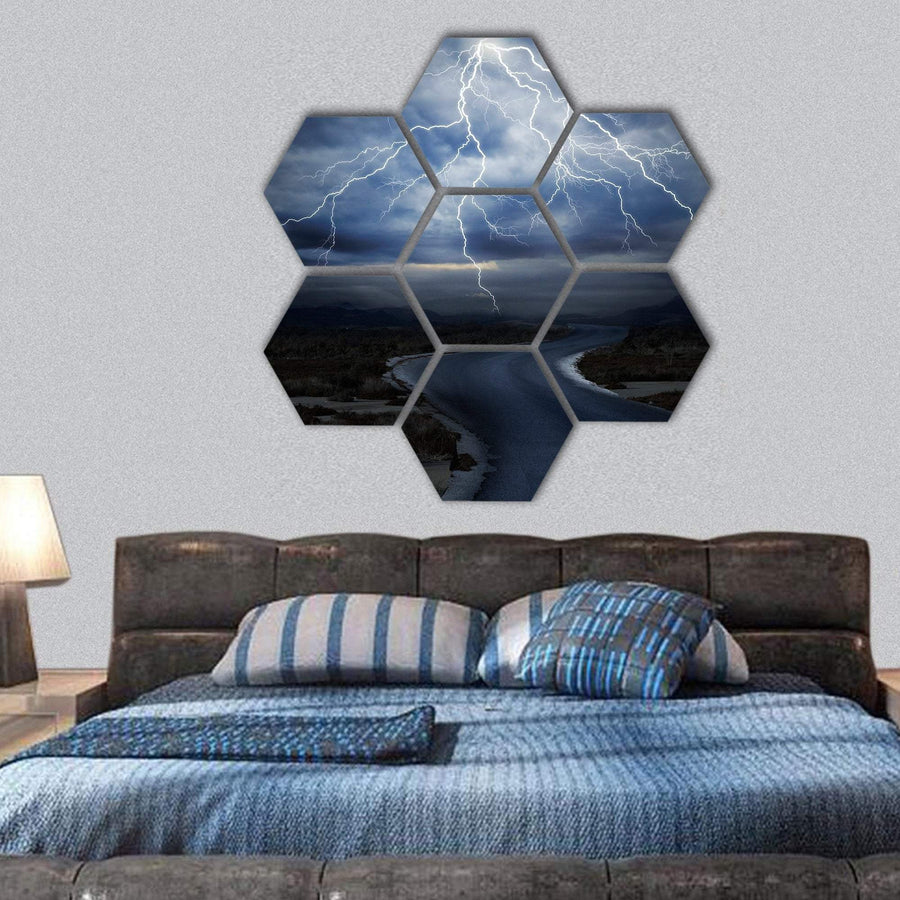 Thunderstorm Over The Road Hexagonal Canvas Wall Art 1 Hexa / Small / Gallery Wrap Tiaracle