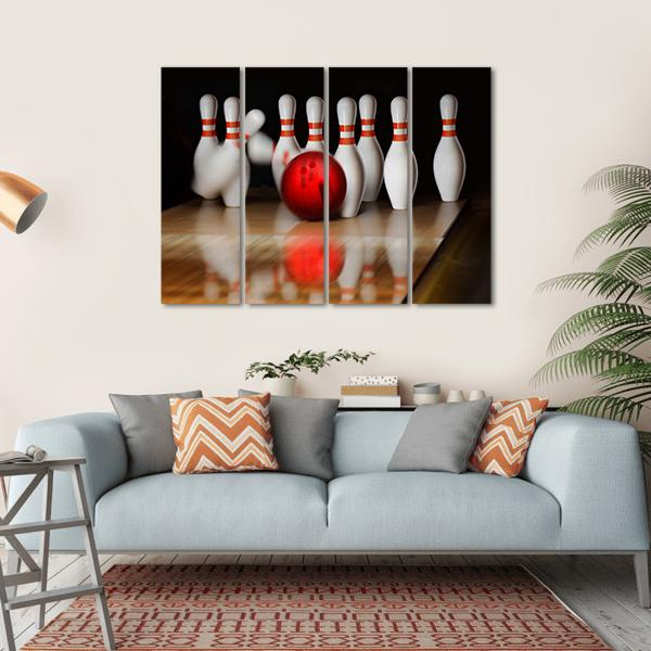 Orange Ball Strike On Tenpin Bowling In Skittle-Ground Multi Panel Canvas Wall Art 1 Piece / Small / Gallery Wrap Tiaracle